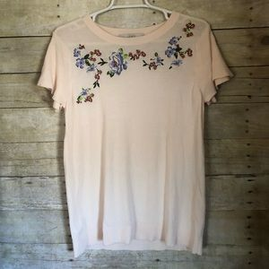 LOFT knit floral embroidered top short sleeves